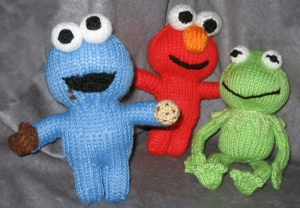 Cookie shows his stuff!  Cookie, Elmo and Kermit